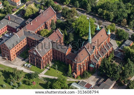 aerial view of the church in Wroclaw city in Poland - stock photo