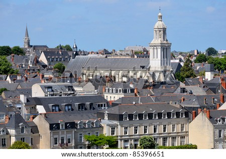 "Aerial view of the Church ""La Trinité"" in the city of Angers in the Maine-et-Loire department in western France about 300 km (190 mi) south-west of Paris"