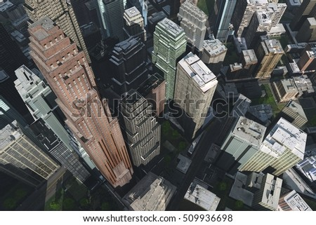 aerial view of the city, a city with a bird's-eye view. 3d rendering.