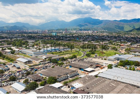 aerial view of the city and industrial buildings in Venezuela
