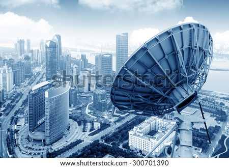 Aerial view of the city and the dish - stock photo