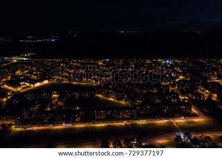 Aerial view of the city at night.