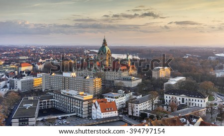 Aerial view of the City Hall of Hannover at evening, Germany