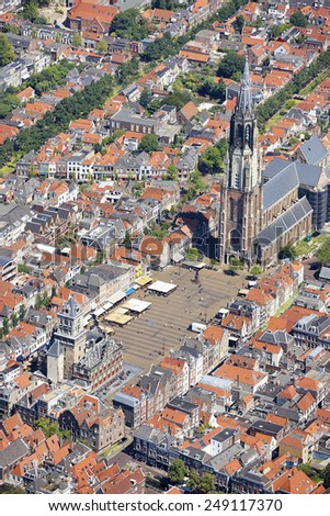 Aerial view of the city of Delft, the Netherlands with the New Church and the old Town hall - stock photo