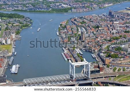 Aerial view of the city of Dordrecht with the Great Church (Grote Kerk) in the province of Zuid-Holland, the Netherlands.
