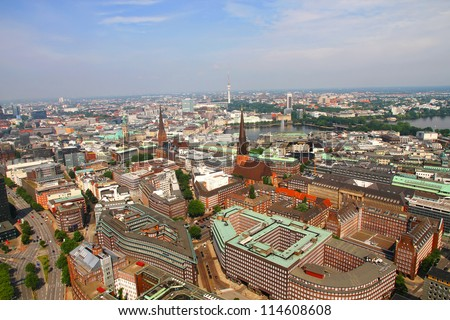 Aerial view of the city of Hamburg in Germany. - stock photo