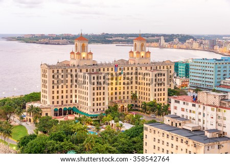 Aerial view of the city of Havana including several tourist destinations - stock photo