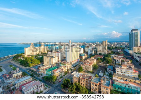 Aerial view of the city of Havana including the Vedado neighborhood and several tourist attractions - stock photo