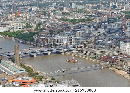 Aerial view of the City of London and Thames river.