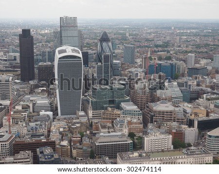 Aerial view of the city of London, UK - stock photo