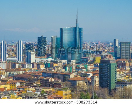 Aerial view of the city of Milan - stock photo