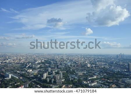Aerial view of the city of Moscow, Russia