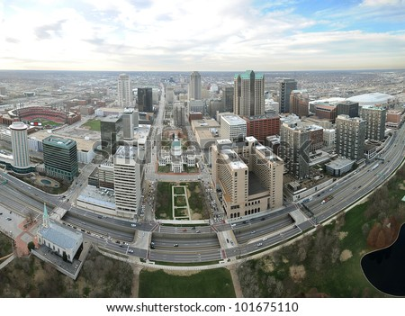 Aerial View of the city of Saint Louis, Missouri as seen from the top of the arch looking West - stock photo