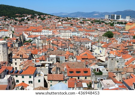 Aerial view of the city of Split, an ancient old town, popular cruise destination, in Croatia