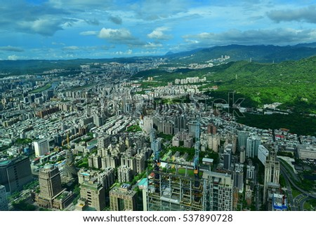 Aerial view of the city of Taipei, Taiwan
