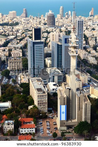 Aerial view of the City of Tel Aviv, Israel