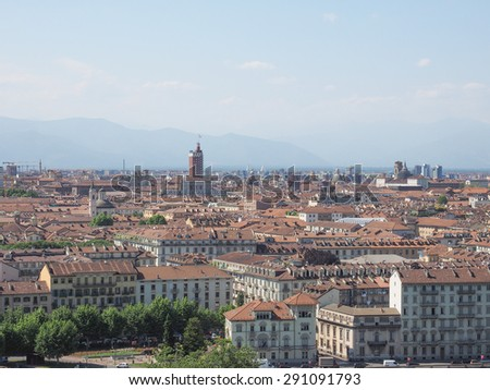 Aerial view of the city of Turin, Italy seen from the hill