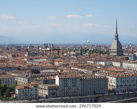 Aerial view of the city of Turin, Italy seen from the hill - stock photo