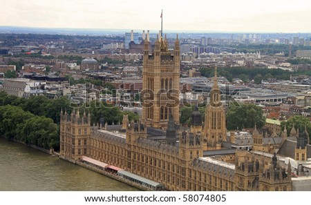 Aerial view of the City of Westminster and the Houses of Parliament in London - stock photo