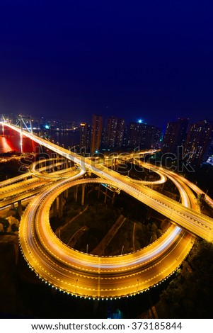 aerial view of the city overpass at night - stock photo
