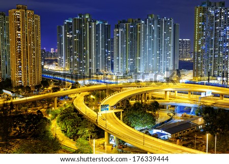 aerial view of the city overpass at night, HongKong,Asia China - stock photo