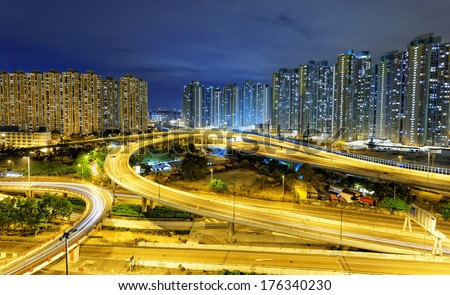 aerial view of the city overpass at night, HongKong, Asia China - stock photo
