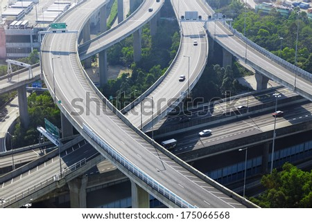 aerial view of the city overpass in early morning, HongKong,Asia China - stock photo