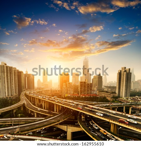 aerial view of the city overpass in early morning,shanghai,Ch ina - stock photo