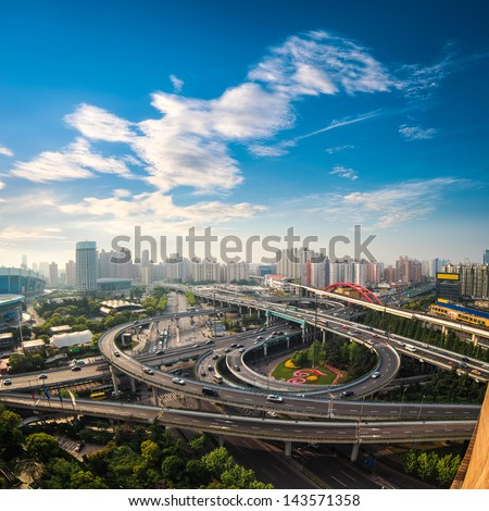 aerial view of the city overpass in early morning,shanghai,China - stock photo