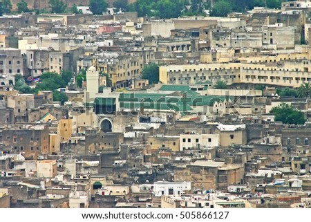Aerial view of the city skyline and the University of Al-Karaouine, the oldest university in the world, in the ancient medina, Fes el Bali, in Fez, Morocco