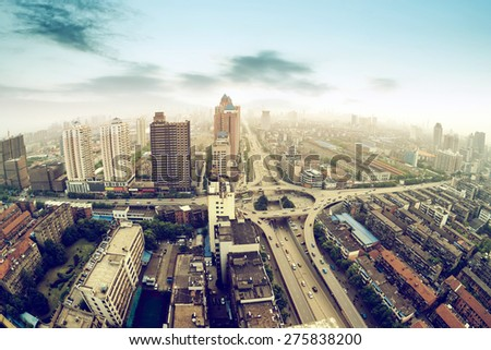Aerial view of the city viaduct interchange - stock photo