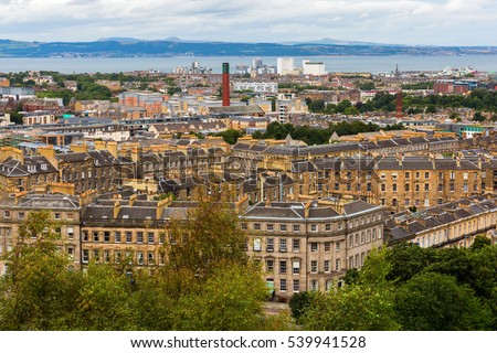 aerial view of the cityscape of Edinburgh, Scotland, UK