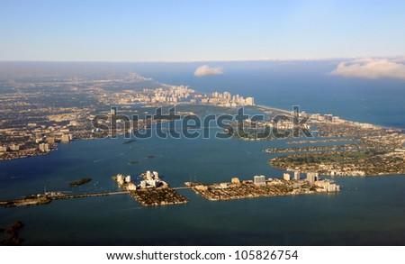 Aerial view of the coastline near Miami, Florida - stock photo