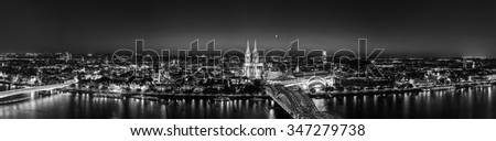aerial view of the cologne skyline at night in black and white colors, germany - stock photo