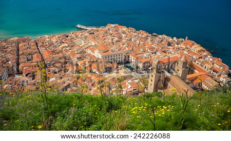 aerial view of the cozy Cefalu old town, Sicily  - stock photo