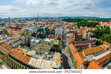 aerial view of the croatian capital zagreb