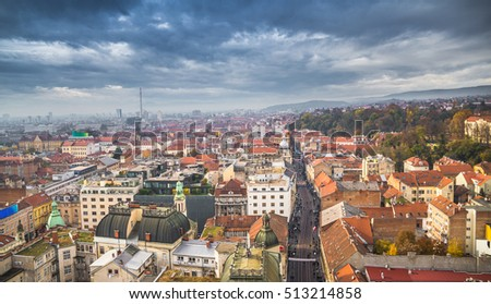 Aerial view of the croatian capital Zagreb, sky scape, hdr effect