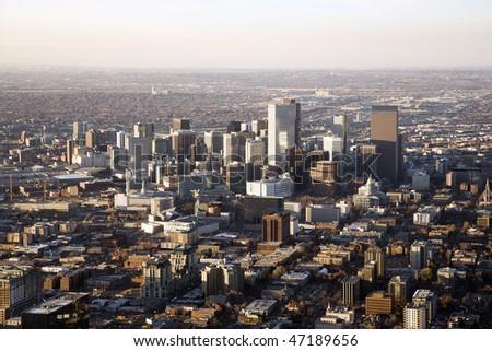 Aerial view of the Denver Colorado cityscape on a hazy day. Horizontal shot. - stock photo