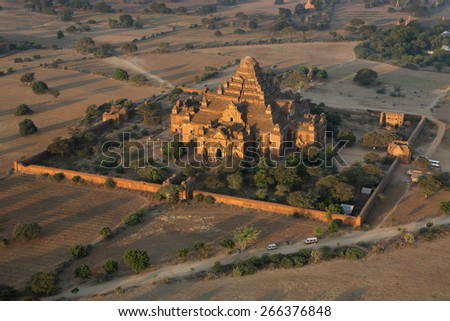 Aerial view of the Dhammayangyi Temple in the ancient city of Bagan in Myanmar (Burma). It is the largest of all the temples in Bagan. (1167-1170). - stock photo