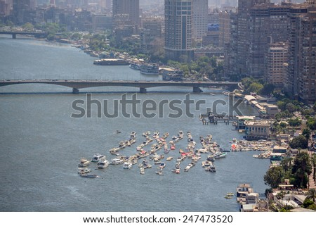 Aerial view of the downtown area of Cairo along the Nile River as viewed from the top of Cairo Tower. Cairo, Egypt - stock photo