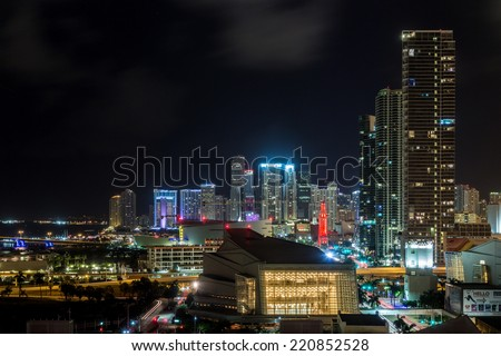 Aerial view of the downtown area of Miami, Florida, showing the colorful skyscrapers and densely packed buildings - stock photo