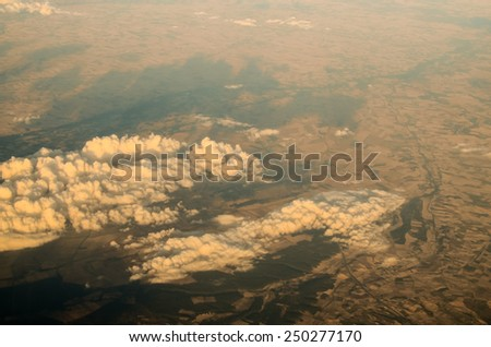 Aerial View of the Earth from an Airplane - stock photo