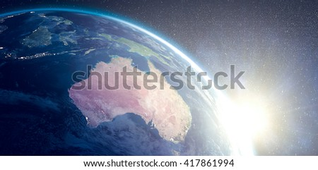 Aerial view of the Earth in the space