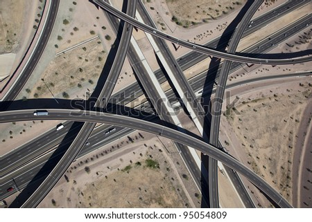 Aerial view of the East Mesa Interchange at the Loop 202 and Superstition Freeways - stock photo
