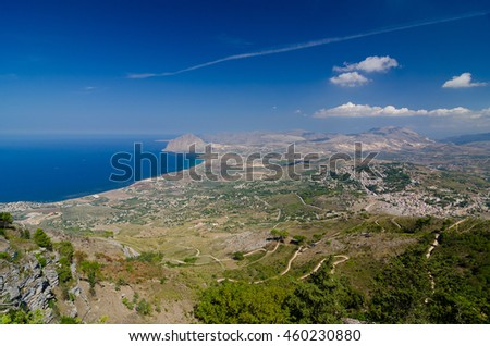 Aerial view of the Erice, Sicily, Italy. - stock photo