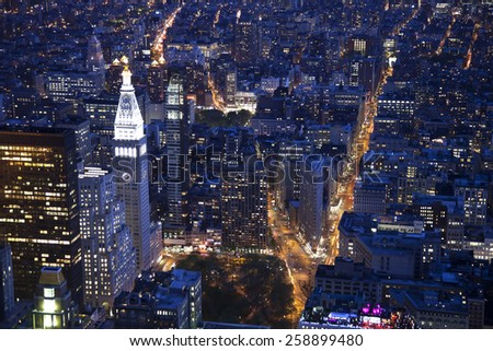 Aerial view of the Flatiron in Manhattan - stock photo