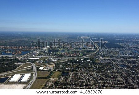 Aerial view of the Florida Turnpike near West Palm Beach, Florida. - stock photo