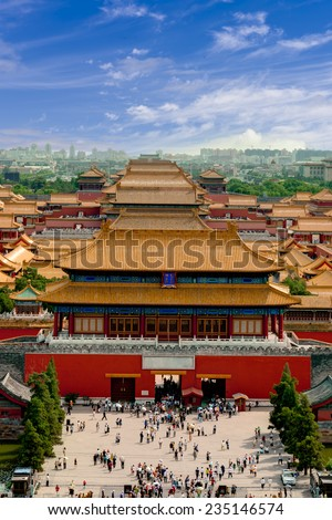 Aerial view of  the Forbidden City. Beijing, China  - stock photo