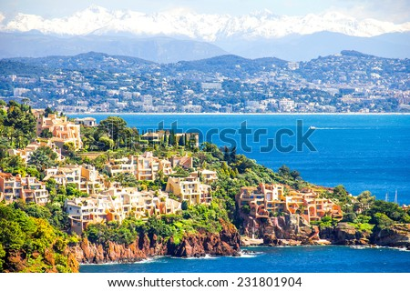 Aerial view of the French Riviera - stock photo