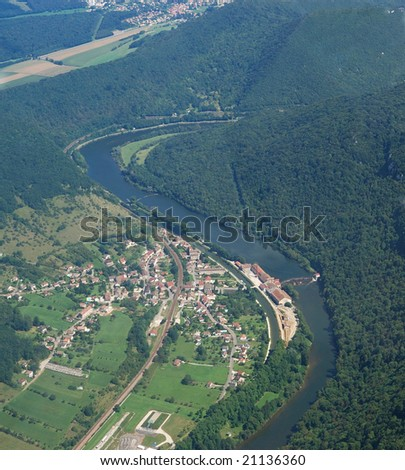 Aerial view of the french village Deluz and the river Doubs